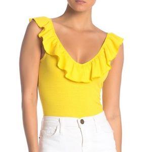 NWT Socialite Ruffled V-Neck Sleeveless Bodysuit